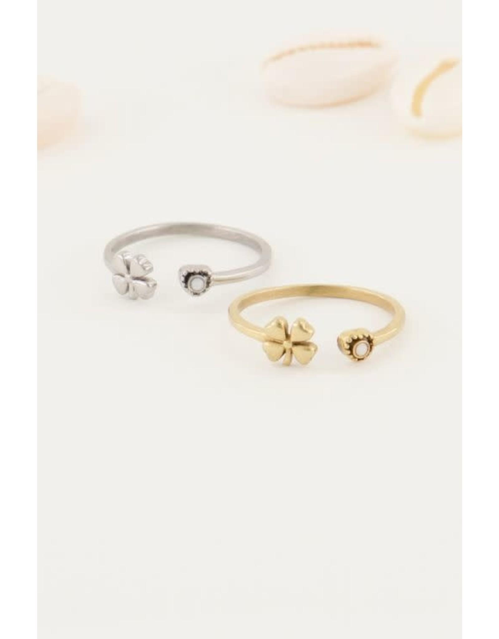 My Jewellery My Jewellery ring klaver en steentje