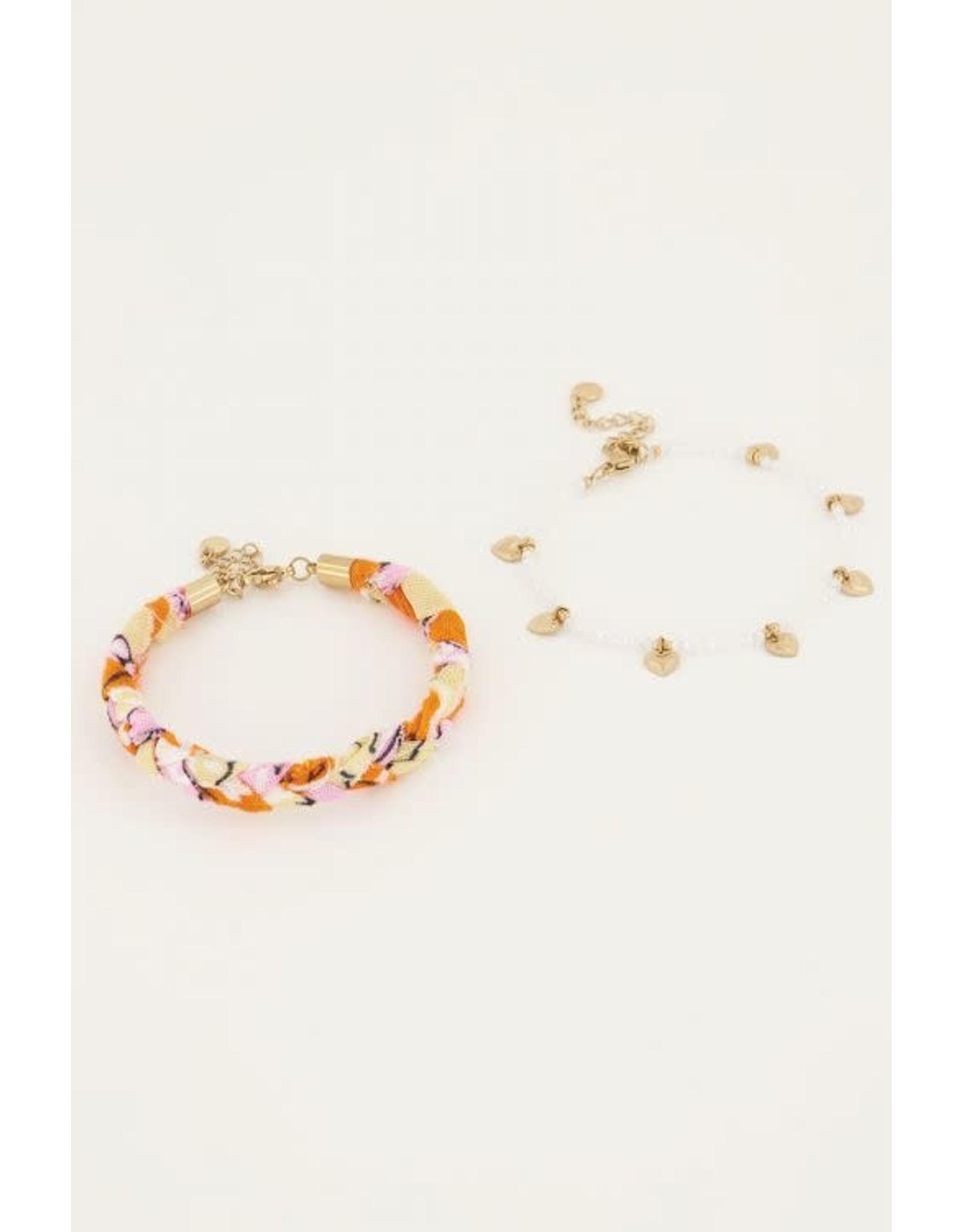 My Jewellery My Jewellery oranje gevlochten armbanden set