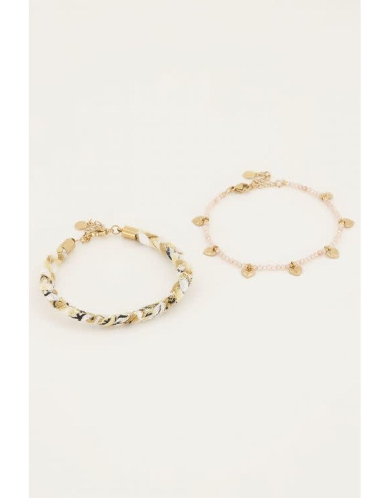 My Jewellery My Jewellery beige gevlochten armbanden set
