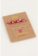 My Jewellery My Jewellery roze gevlochten armbanden set