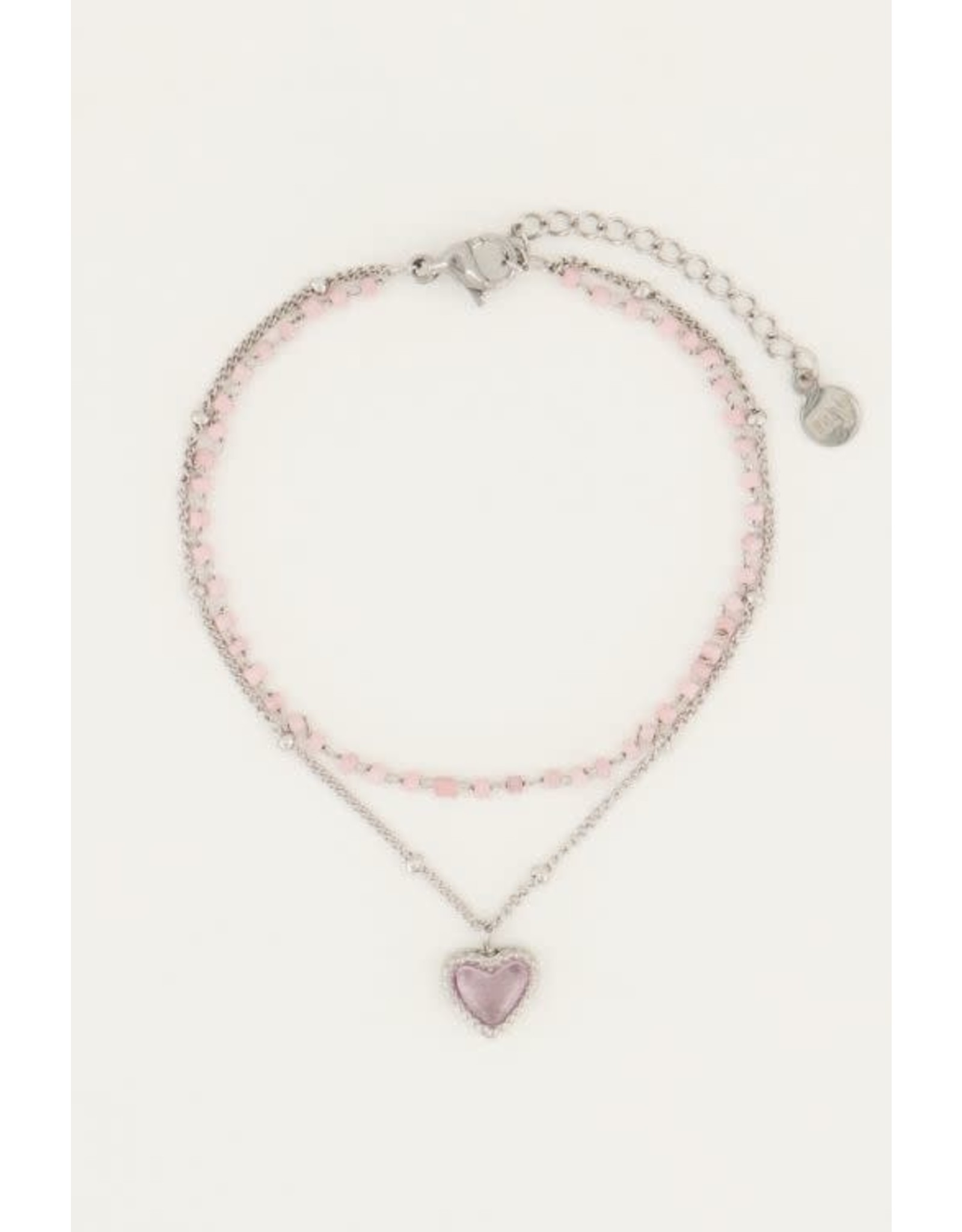 My Jewellery My Jewellery roze kralenarmbandje met hartje