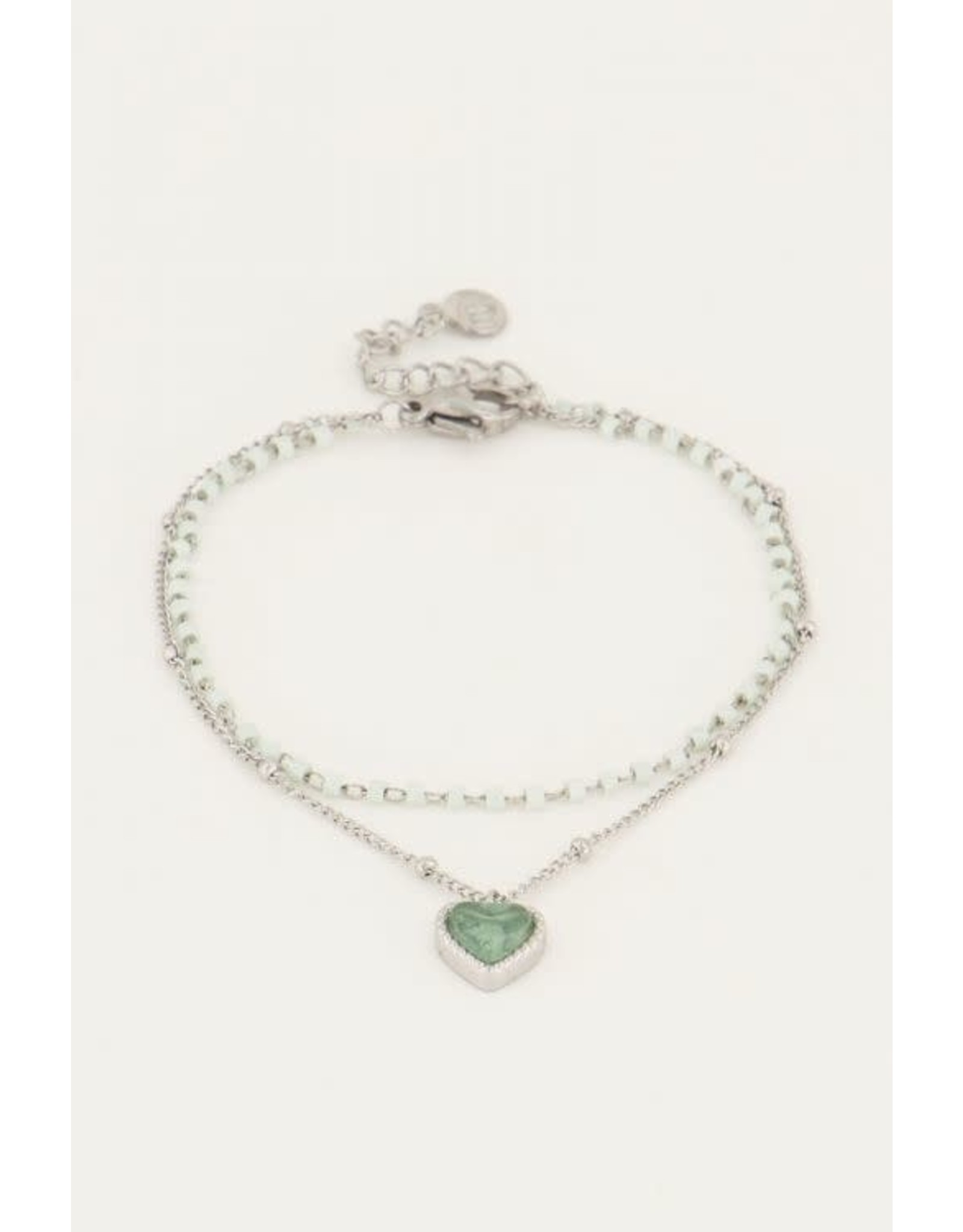 My Jewellery My Jewellery groen kralenarmbandje met hart
