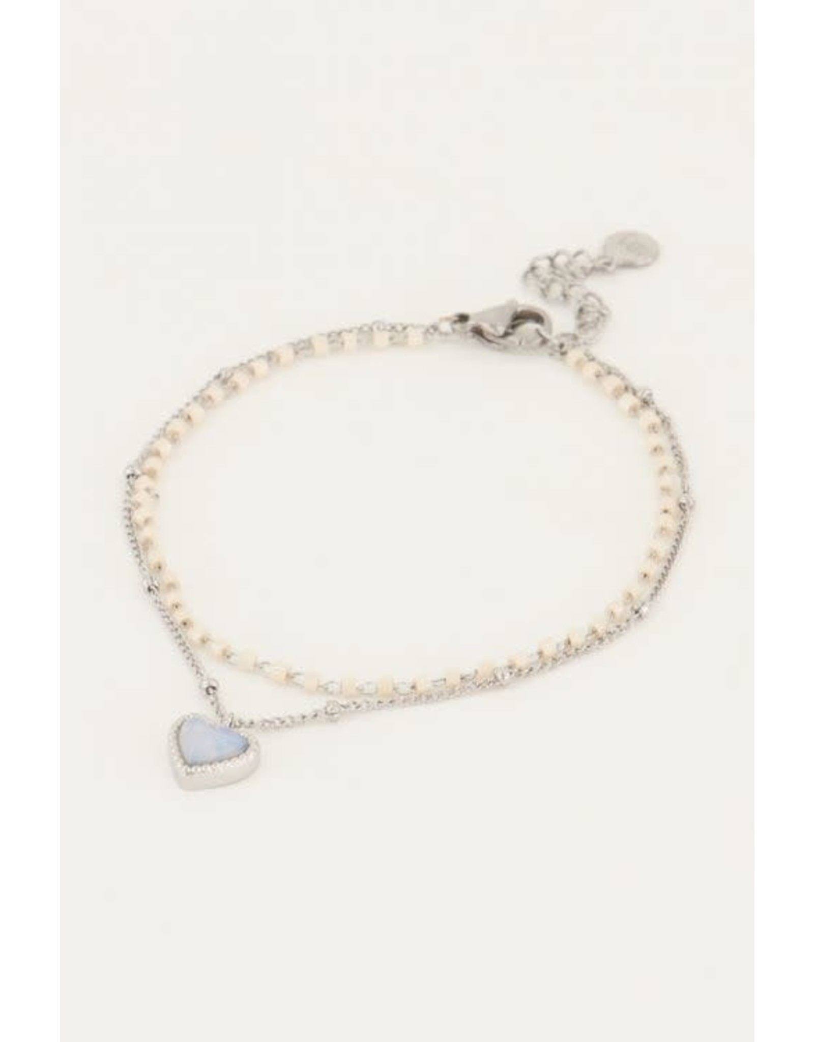 My Jewellery My Jewellery beige kralenarmbandje met hart