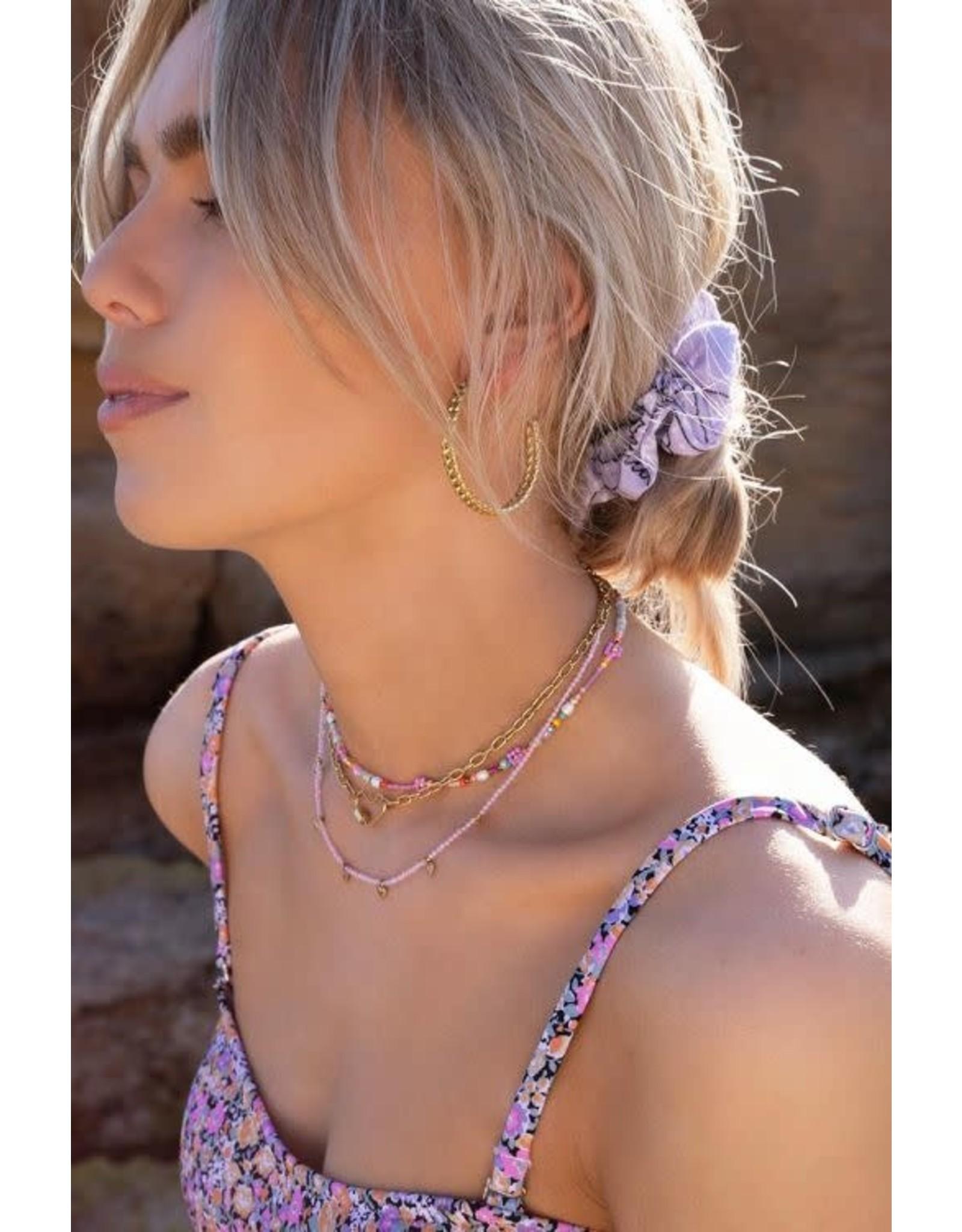 My Jewellery My Jewellery roze kralenketting met hartjes
