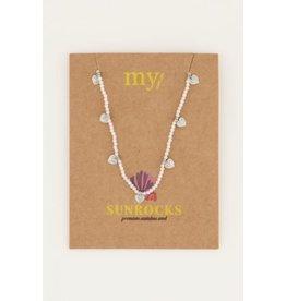 My Jewellery My Jewellery grijze kralenketting met hartjes