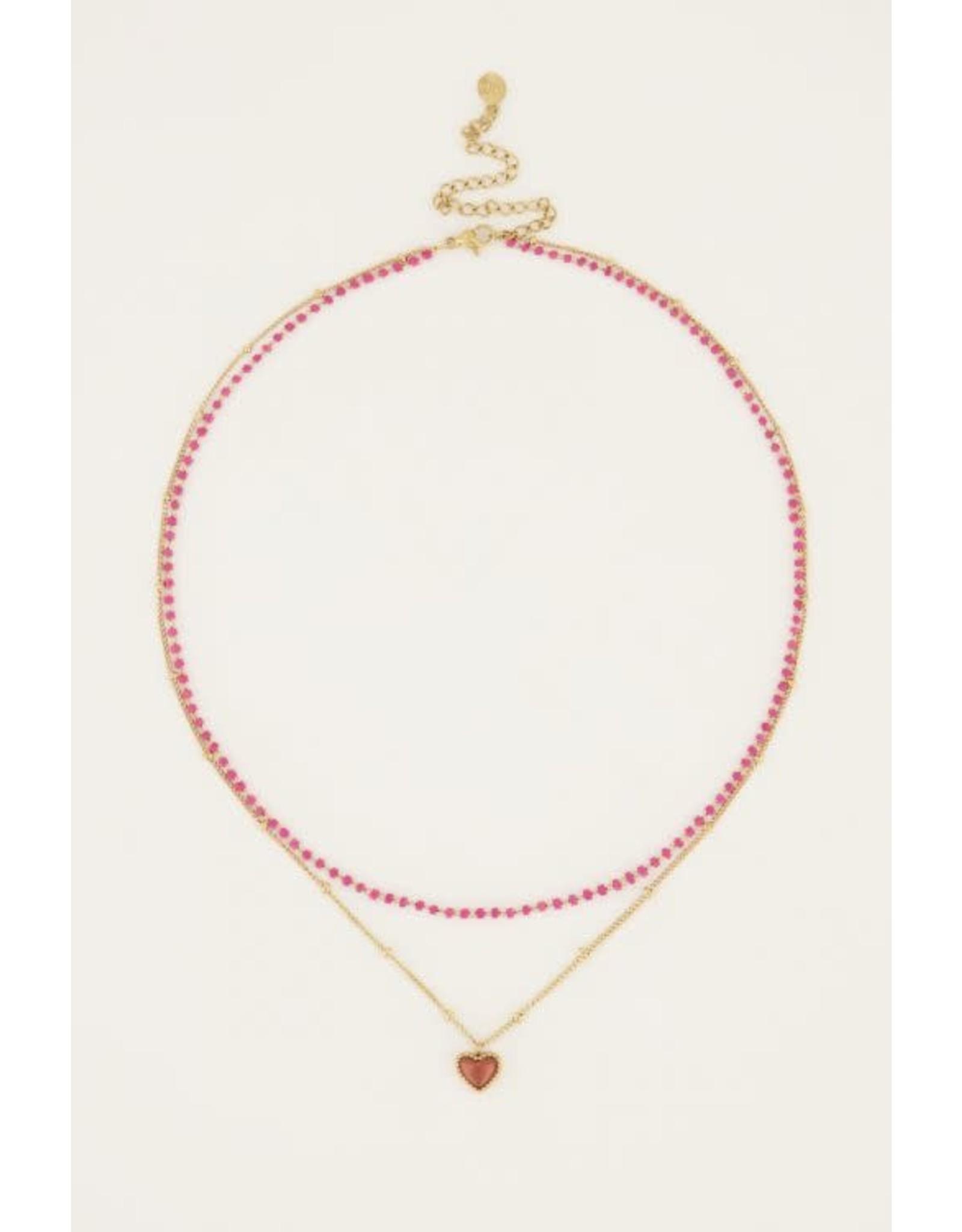 My Jewellery My Jewellery fuchsia dubbele kralenketting met hartje
