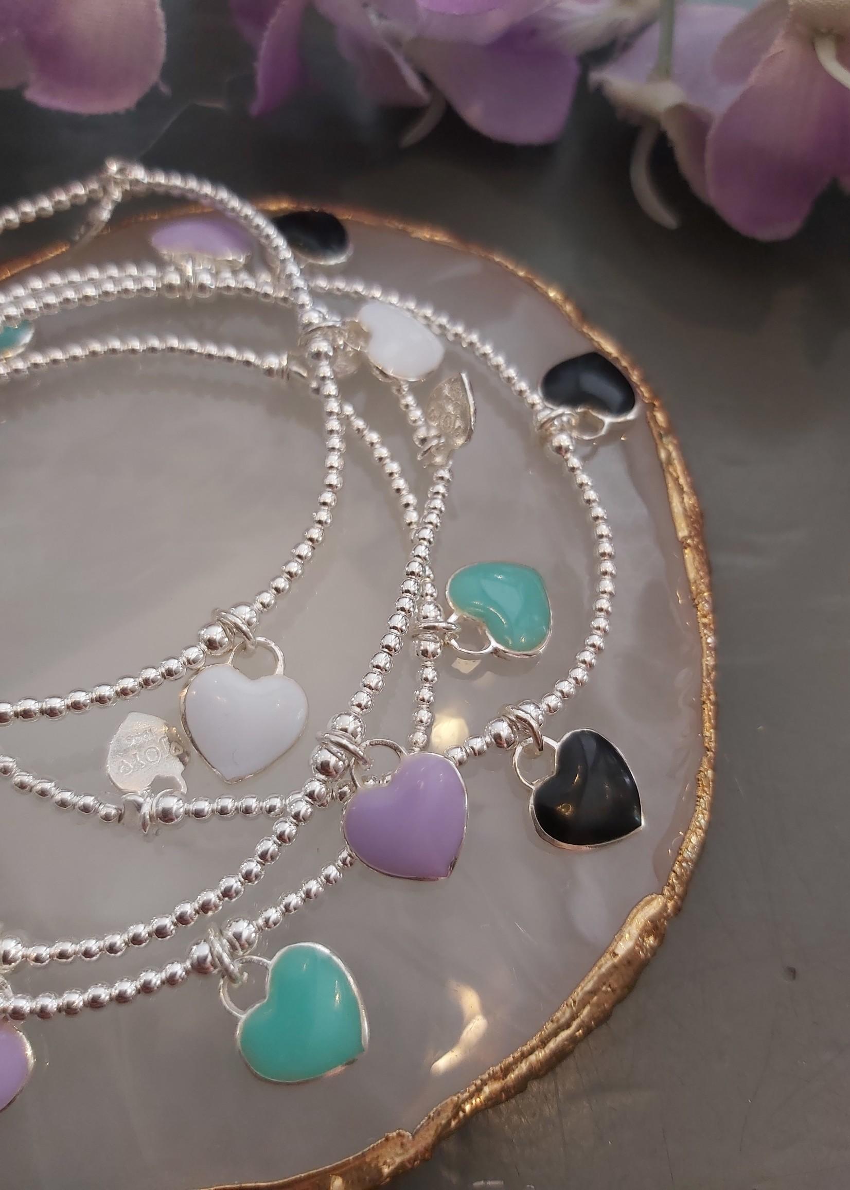 Joy Bali JOY armband No 5 Resin hearts - zwart