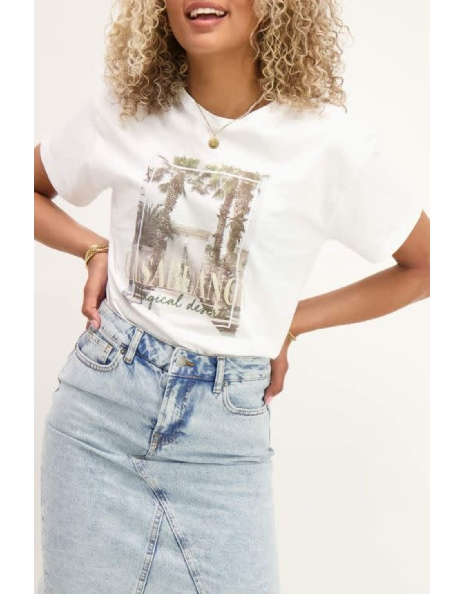 My Jewellery My Jewellery Crème T-shirt Casablanca print