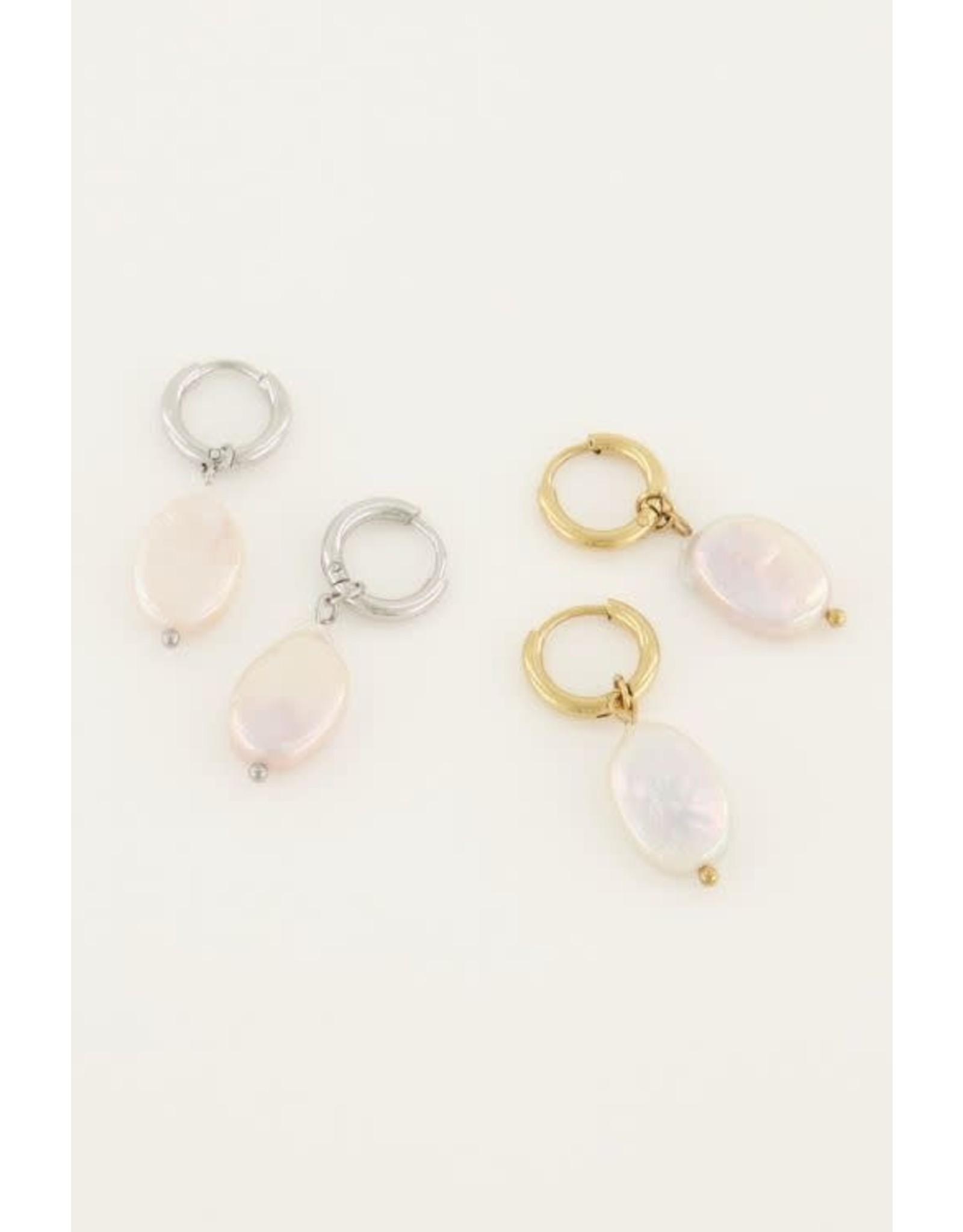 My Jewellery My Jewellery oorringen platte parel