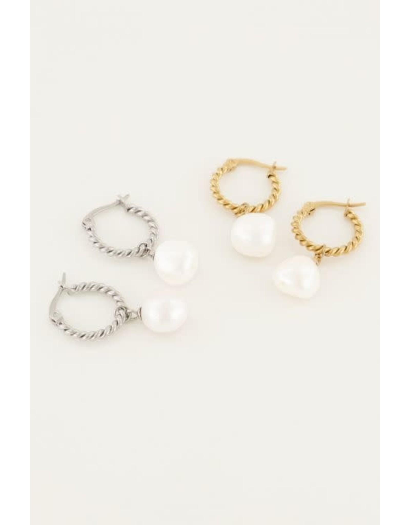 My Jewellery My Jewellery oorringen gedraaid met parel