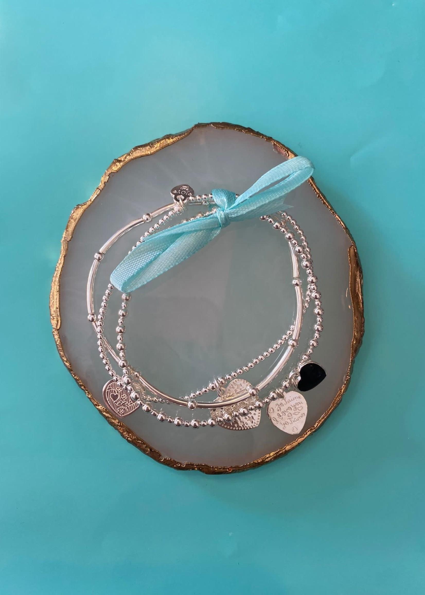 Joy Bali Joy Bali armbanden set Etoiles zwart hartje