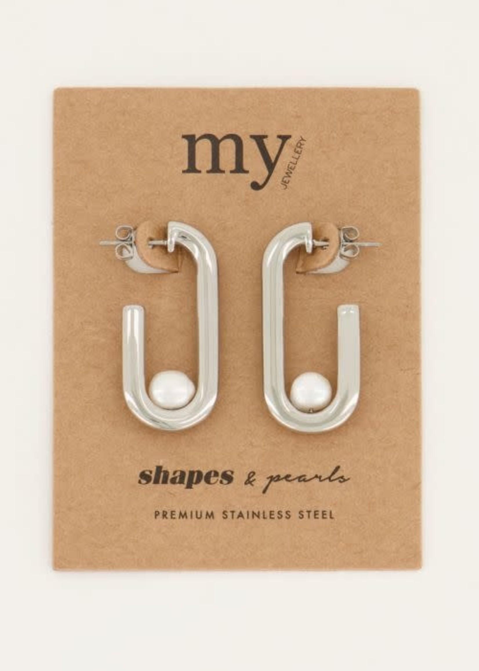 My Jewellery My Jewellery Shapes oorhangers rechthoek parel