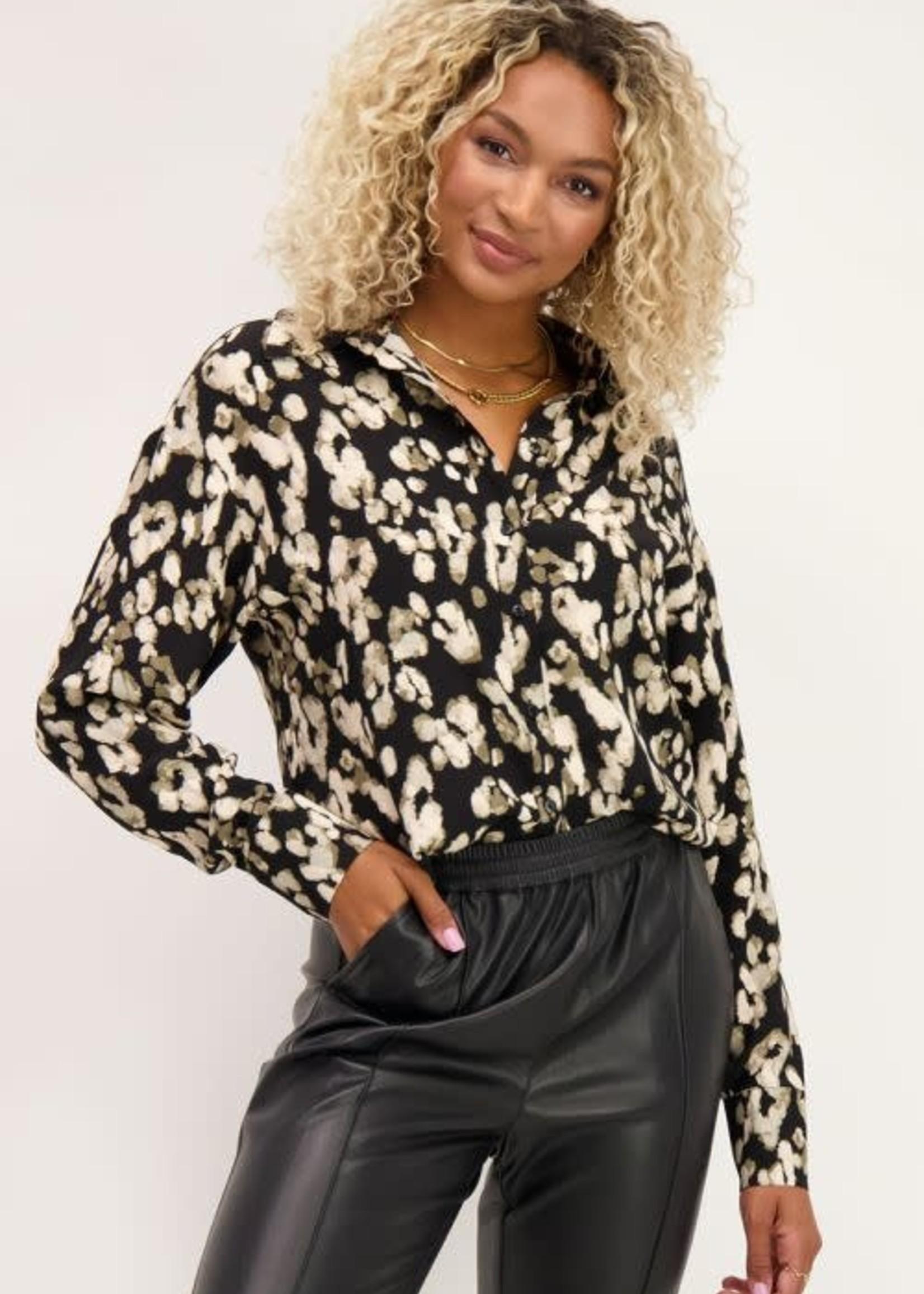 My Jewellery My Jewellery Zwarte blouse met gevlekte print