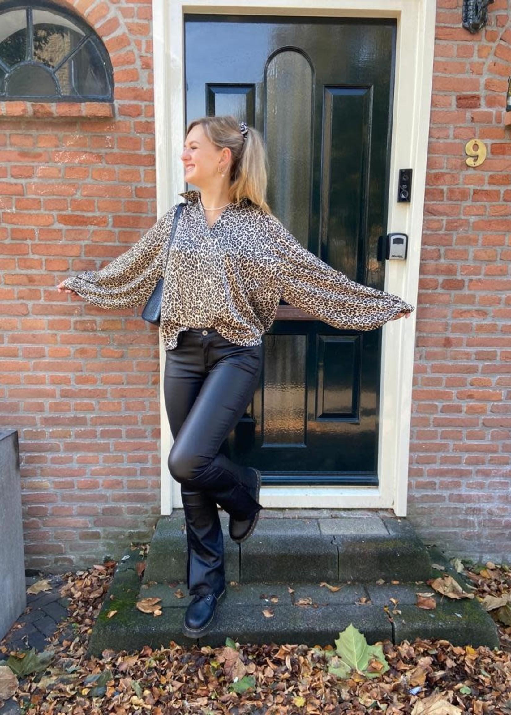 Jeans flared leatherlook