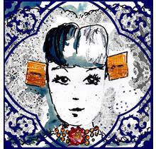 Ansichtkaart Zeeuws meisje Delfsblauwe tegel, geen tekst