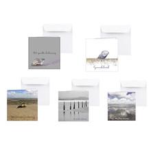 Pakket van 5 condoleance kaarten met zeegezichten en schelpen