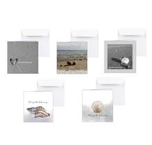 Pakket van 5 condoleance kaarten met zeegezichten en schelpen - Copy