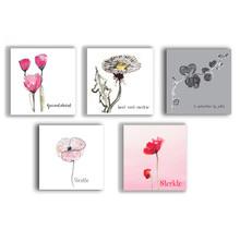 Pakket van 5 condoleance kaarten met bloemen geschilderd in aquarel.
