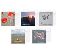 Pakket van 5 condoleance kaarten met bloemen en zeegezichten