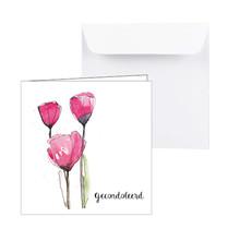Condoleance kaart met 3 rode tulpen