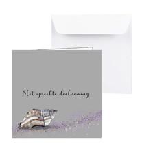 Condoleancekaart met een getekende grijs paarse schelp