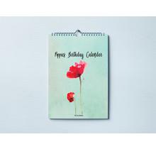 Verjaardagskalender Poppies in Engels, Duits en Frans