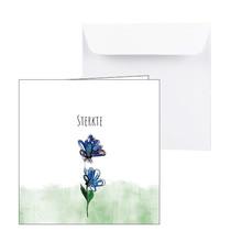 Condoleance kaart blauwe bloem Sterkte
