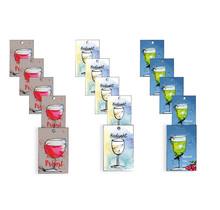 Set van 15 cadeaukaartjes met rode en witte wijn