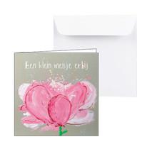 Geboortekaartje roze bloem hoera een klein meisje erbij