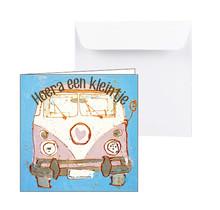Geboortekaartje roze bus Hoera een kleintje