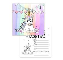 Set van 10 uitnodiging voor een kinderfeest met een regenboog