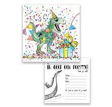 Set van 10 uitnodiging voor een kinderfeest Dino met confetti