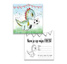 Set van 10 uitnodiging voor een kinderfeest Dino met voetbal