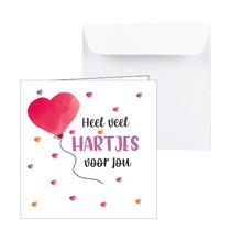 Lieve kaart met een hartjes ballon Heel veel Hartjes voor jou