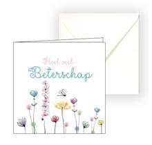 Beterschapskaart met bloemen, heel veel beterschap