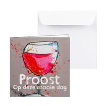 Verjaardagskaart rode wijn, Proost op deze mooie dag