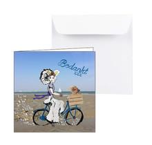 Zeeuwse bedankkaart met meisje op de fiets en hondje