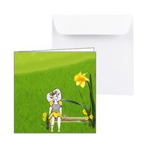 Zeeuwse lentekaart met narcis en Zeeuws meisje, zonder tekst