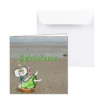 Zeeuwse verjaardagskaart Zeeuws meisje met een ijsje op het strand