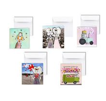 Set van 5 Zeeuwse kaarten, Zeeuwse meisjes, bloemen en hartjes