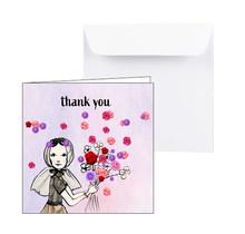 Zeeuwse bedankkaart met een Zeeuws meisje met bloemen