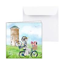 Zeeuwse kaart met Zeeuwse meisjes op de fiets
