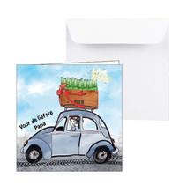 Zeeuwse kaart blauwe auto met bier op het dak