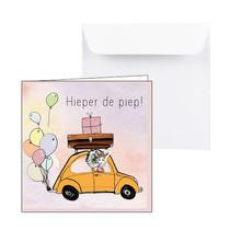 Zeeuwse verjaardagskaart gele auto met ballonnen en cadeautjes
