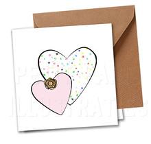 Zeeuwse kaart met twee hartjes en Zeeuws knopje