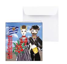 Zeeuwse trouwkaart gefeliciteerd man en vrouw
