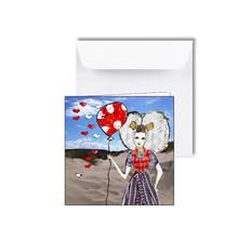 Zeeuwse kaart met hartjes en ballon aan het strand