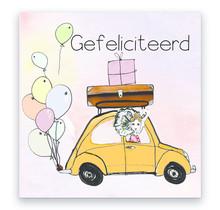 Zeeuwse verjaardagskaart Zeeuws meisje in auto