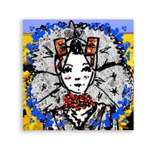 Zeeuwse Ansichtkaart Zeeuws meisje gele bloemen