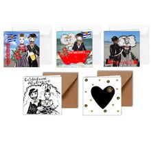 Set van 5 Zeeuwse felicitatiekaarten voor een huwelijk